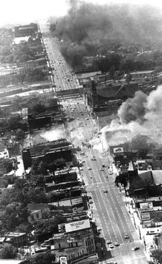 An aerial view of the area of Grand River and Warren during the 1967 race riots in Detroit. (The Detroit News)