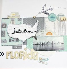 #papercraft #scrapbook #layout. Tutto quanto fa scrap: Layout - Florida on the road #scrapbooklayouts #scrapbooking101