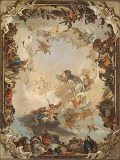 Giovanni Battista Tiepolo (Italian, 1696–1770). Allegory of the Planets and Continents, 1752. The Metropolitan Museum of Art, New York. Gift of Mr. and Mrs. Charles Wrightsman, 1977 (1977.1.3) | Apollo is about to embark on his daily course across the sky. Deities around the sun god symbolize the planets, and allegorical figures at the four sides represent the continents. #OneMetManyWorlds