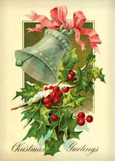 Vintage Postcard or of Christmas cards @ Victorian Trading Company Images Vintage, Vintage Christmas Images, Old Fashioned Christmas, Christmas Past, Victorian Christmas, Retro Christmas, Christmas Bells, Vintage Holiday, Christmas Pictures