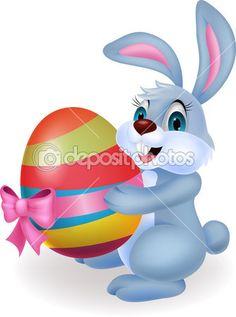 Personaje de caricatura.  Lindo conejo  de pascua sosteniendo un gran huevo decorado. Fondo blanco.