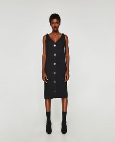 Image 1 of RIBBED DRESS WITH THIN STRAPS from Zara