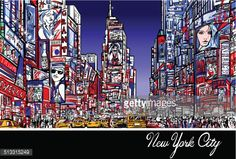 Vector Art : Times Square in New York at night