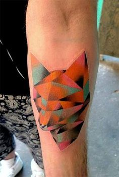 colorful fox geometric animal tattoo design