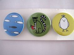 Familia animal pack número 3 por HappyBroccoli en Etsy, €3.45 #chapas #pinbackbutton