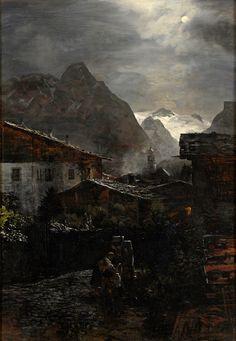 Achenbach, Oswald 1827 Düsseldorf - 1905 Düsseldorf Ansicht von Zell im Zillertal. Signiert. Öl/Lwd., 100 x 70 cm