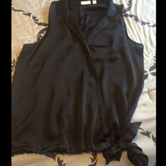 NY& Co Black crisscross tie top New York & Company sleeveless satin feel side tie crisscross top New York & Company Tops Blouses