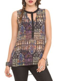 Teenage Runaway Cathedral Chiffon Top - Unblack casual