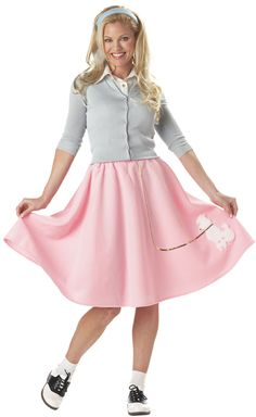 8b28e081 Pink Poodle Skirt 50's Adult Costume - Fifties Costumes Sock Hop Costumes,  50s Halloween Costumes