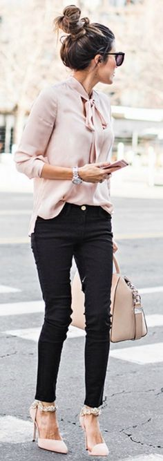 Summer Office Outfit Winter Wardrobe Blush Pink Christine Andrew Gorgeous Silky Blouse Matching Heels Bag