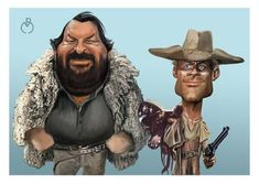 Bud Spencer y Terence Hill Classic Cartoon Characters, Classic Cartoons, Cartoon Art, Funny Caricatures, Celebrity Caricatures, Famous Cartoons, Funny Cartoons, Star Pictures, Pictures To Draw