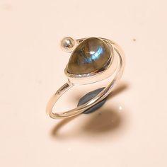 92.5% SOLID STERLING SILVER AWESOME LABARDORITE PEAR SHAPE RING (Adjustable)  #Handmade