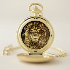 Shop Majestic Gold Lion Pocket Watch created by ManCavePortal. Personalized Pocket Watch, Lion Cat, Lion Design, Make A Gift, Cool Watches, Colorful Backgrounds, Unique Gifts, Quartz, Man Shop