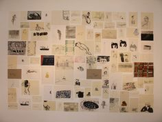 The wall of 100 drawings by Tom Hammick, Laura Carlin and Betsy Dadd from April 2011