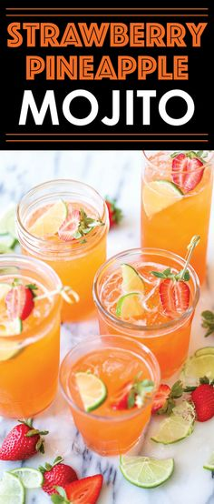 Strawberry Pineapple Mojito - A fun, sweet tropical twist to everyone's favorite…