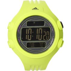 ADIDAS ADP6100 Lime Green Watch ($25) ❤ liked on Polyvore featuring jewelry, watches, adidas, lime green jewelry, bezel jewelry, digital wristwatch and stainless steel jewellery