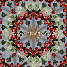 Mandala Kaleidoskop ''Efeu/Beeren''  Kreatives by Petra #mandala 'kaleidoskop #spiegelung #reflektion #reflection #innereruhe #inspiration #efeu #ivy #beeren #berry #rot #red #blumen #flowers #blüten #blossom #frühling #spring #sommer #summer #home #deko #dekoration #plakat #poster #leinwand #canvas Petra, Christmas Wreaths, Holiday Decor, Inspiration, Mandalas, Ivy, Home Decoration, Berries, Mosaics