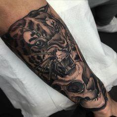 Grey Skull And Tiger Head Forearm Tattoo Skull Tattoo Design, Skull Tattoos, Tattoo Designs, Tiger Skull, Tiger Head, Traditional Tiger Tattoo, Traditional Design, Neo Tattoo, Tiger Tattoo