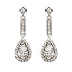 A pair of round brilliant cut diamond set drop earrings, consisting of four brilliant cut diamonds suspending a diamond set pear shaped cluster drop, with a combined weight of 0.48ct, all mounted in a fine 18ct white gold setting, with post and scroll fittings