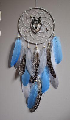 Blue Silver Dream Catcher, Native American Style Large Dreamcatcher, Wolf Dream Catcher Wall Hanging Decor, Silver Blue Dream Catcher