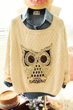plus size animal sweaters | Pullover Sweaters Women Crewneck Outerwear Oversized Crochet Sweater ...