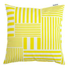 Yellow striped cushion by MUOVO {Finland} Striped Cushions, Yellow Stripes, Home Textile, Print Patterns, Pattern Design, Design Inspiration, Textiles, Throw Pillows, Embroidery