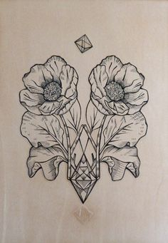 """Geometric Poppy."" Punctured Artefact. Tattooed leather, edition of 15."