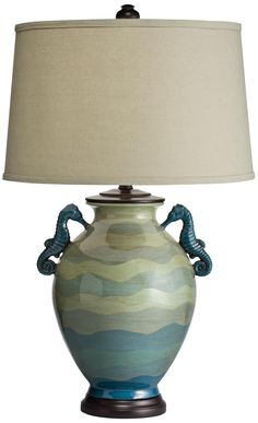 Kichler Lyric Hand-Painted Seahorse Table Lamp |may have to have it for the cottage:) LampsPlus.com