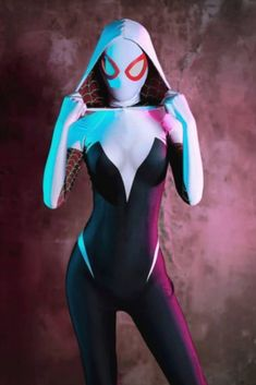 Spider Gwen Black And White Leather Hoodie Jacket Cute Cosplay, Best Cosplay, Cosplay Girls, Cosplay Costumes, Marvel Spider Gwen, Spider Gwen Cosplay, Superhero Cosplay, Marvel Cosplay, Adventure Time Girls