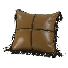 HiEnd Accents Cross Stitched Brown 18-inch Fringed Throw Pillow