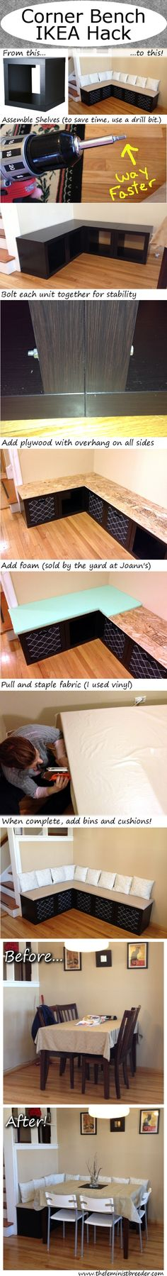 A corner bench with storage made from some IKEA wall shelves and a little upholstering.