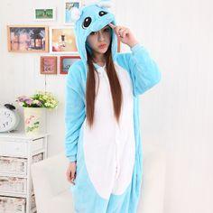 Velvet Fluffy Blue Cartoon Animal Hippopotamus Autumn and Winter Hooded Onesies Pajamas Adult Sleepwear Kigurumi $99.00  #Lovejoynet #Animal #Sleepwear