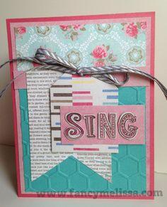 Sing Handstamped Card www.fancymelissa.com #ctmh #circusalphabet #sotm #mycrush #inthepink #hexagon #embossingfolder