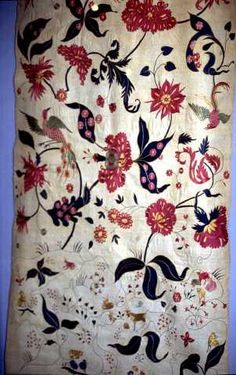 Cotton fabric embroidered with silk, made in India for European export, late 17th – early 18th century. While the design is actually embroidered, it echoes common motifs.