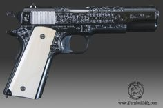 This Colt 1911 Commercial Model, manufactured in 1922, has been fully restored by Turnbull Manufacturing to original condition.  Engraving done by Turnbull engraver Tom McArdle using a variety of techniques based designs developed from Colt engravings of the era.