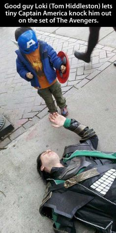 Why I am in love with Tom Hiddleston....Good guy Loki lets tiny Captain America knock him out on the set of the Avengers