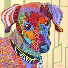 Contemporary dog portrait painting Dessi, painting by artist Carolee Clark