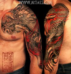 Black and Gray Dragon Half Sleeve