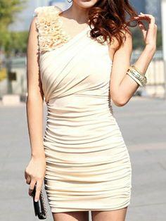 Fashion Stylish V-Neck Draped Slim Hip Dress Beige
