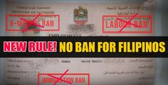 GOOD NEWS! NEW RULE: NO MORE BAN FOR FILIPINOS IN UAE