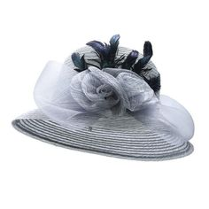 New Yarn Church Hats For Women Big Bow Feather Flower Elegant Summer Sun Hat 10383d9f7400