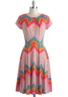 Prism and Her Dress - Vintage Inspired, 70s, Multi, Red, Orange, Green, Blue, Pink, Print, Casual, A-line, Short Sleeves by ModCloth.com