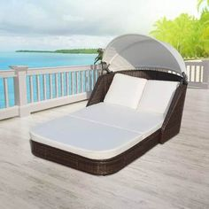 SKB Family Sun Lounger with Canopy Poly Rattan Brown Patio Chaise Outdoor Sun Bed >>> Many thanks for visiting our photograph. (This is our affiliate link) Outdoor Loungers, Outdoor Daybed, Double Chaise Lounge Outdoor, Patio Daybed, Ikea Outdoor, Pool Furniture, Outdoor Furniture, Furniture Layout, Furniture Ideas