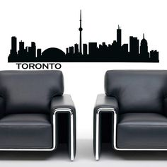 Wall Decals Vinyl Stickers Toronto City Skyline by FabWallDecals