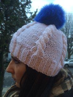 White slouchy blue Pom Pom hat knit slouhy beanie by KnitSew4U