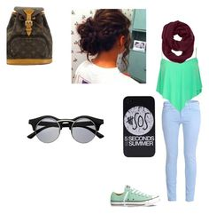 School by dudeitsaaliyah on Polyvore featuring polyvore, fashion, style, Current/Elliott, Converse, Louis Vuitton and Athleta