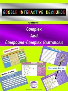 Complex and Compound-Complex Sentences Digital Interactive Activity Grammar And Punctuation, Teaching Grammar, Teaching Tips, Teaching Reading, Interactive Activities, Classroom Activities, Ela Classroom, Writing Practice, Writing Skills