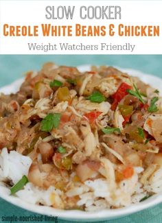 Skinny Slow Cooker Creole White Beans & Chicken is a new favorite Weight Watchers recipe - only 257 calories, 2 WW Freestyle SmartPoints per serving! Weight Watchers Slow Cooker Recipe, Weight Watchers Chicken, Weight Watchers Meals, Skinny Recipes, Ww Recipes, Easy Healthy Recipes, Cooking Recipes, Cajun Recipes, Healthy Options