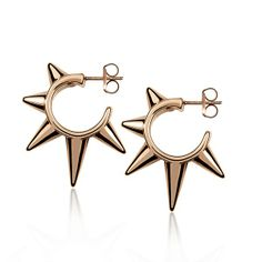 Pendientes de aro con pinchos en plata/oro rosa Aristocrazy