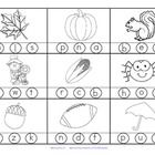 Free! Fall initial sounds,,,,,2 printables with 18 pictures in b/w for young learners with a Fall theme.  Stamp or color the correct beginning or initial sound.